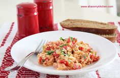 Literally translated mish-mash means hodge-podge. It's a traditional Bulgarian vegetarian dish made with tomatoes peppers onions eggs feta parsley oil salt and pepper – very easy to prepare Bulgaria Food, Great Recipes, Favorite Recipes, Eggs In Peppers, Acid Reflux Recipes, Cheese Stuffed Peppers, Bulgarian Recipes, Man Food, Southern Recipes
