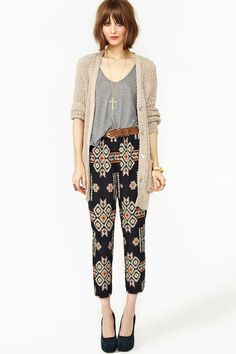 patterned pants, long cardigan