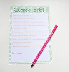 Brincadeira para suas amigas escreverem desejos para o bebê no seu chá de fraldas. Uma lembrança para guardar para sempre.