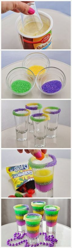 King Cake Jelly Shots. Unbelievably cool! Gotta try for fun Mardi Gras party treat or change up colors for any other special theme party or gathering!!