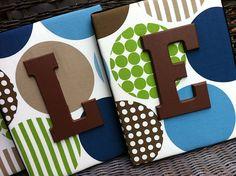 Nursery Letters, 8x10, Wall Letters, Dwell Studio Bedding, Green and Blue Nursery Letters, Dot Letters on Etsy, $21.99