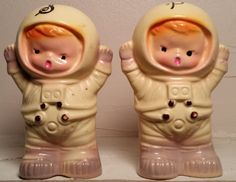 Vintage Baby Astronauts Ceramic Salt & Pepper Shaker Set - Extremely Cute!!