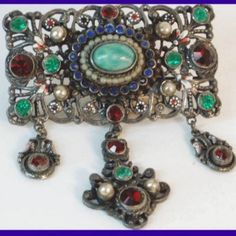 Antique Austro Hungarian jeweled chatelaine brooch with Peking glass - Vintage Sparkles