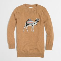 J Crew Factory tassel-embroidered intarsia camel sweater
