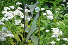 glass yard art images | Stained Glass Yard Art 'Reflections' Whimsical Glass Garden Sculpture ...