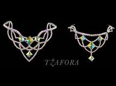 """Close your eyes"" - Swarovski ballroom necklace. Ballroom dance jewelry, ballroom dance dancesport accessories. www.tzafora.com Copyright © 2016 Tzafora."