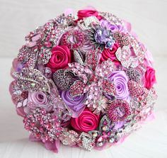 Fuchsia lilac and pink wedding brooch bouquet by MagnoliaHandmade