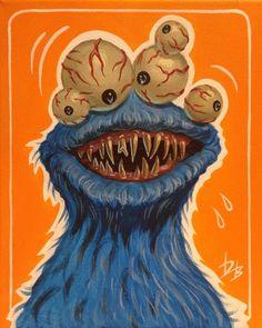 Monster Art, Cookie Monster, Rat Fink, Lowbrow Art, Jim Henson, Pop Surrealism, Canvas, Painting, Instagram