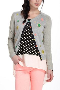 Solaris Cardigan #anthropologie  Modify a neutral sweater with embroidary & buttons
