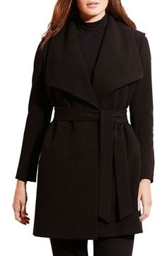 Lauren Ralph Lauren Lauren Ralph Lauren Belted Drape Front Coat (Plus Size) available at #Nordstrom