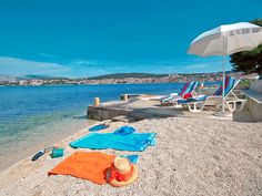 White stone beach on island Ciovo in Croatia
