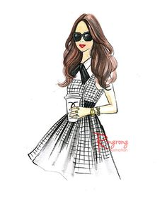 Fashion illustration sketch,Fashion art,Fashion illustration,Chic wall art, Fashion print,fashion poster,Titled,Let's go Chanel for coffee