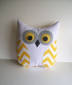 chevron owl pillow, decorative yellow and white chevron owl, unisex  grey and yellow chevron owl for nursery by whimsysweetwhimsy. $35.00, via Etsy.
