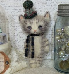 Awwwww......*Chilly Winter Kitty Cat*  needle felted