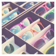 I love colorful sunglasses for the summer!<<< I love these types of sunglasses.