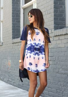 white and blue design t-shirt dress