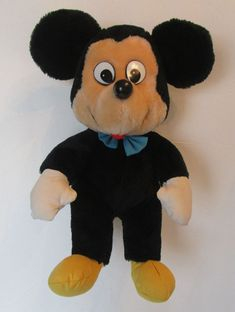"Knickerbocker Mickey Mouse Plush Vintage 1970's Toy 15"" Stuffed Doll Korea #Knickerbocker"