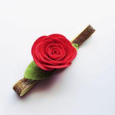 Felt Red Rose Flower Headband