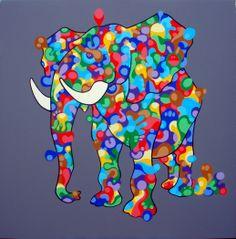 I, Elephant - acrilics on canvas 100x100 - 2013  #elephant #art #pop