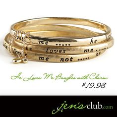 He Loves Me Bangles with Charm From Regal Gold-tone bangles are held together by a delicate chain with heart charm. Bangles, Bracelets, Cartier Love Bracelet, Heart Charm, Jewlery, Delicate, Fashion Jewelry, Charmed, Number