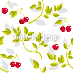Cherry Branches White by Martina Stadler available for download as a vector file on patterndesigns.com