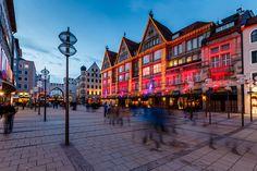 Illuminated Neuhauser Street and Karlsplatz Gate in Munich at the Evening, Germany