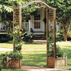 """Give your garden a romantic touch with this antique-look arch trellis that displays both flowers and climbing plants. It looks beautiful in a classic bronze finish and features a planter box on each side.   overall dimensions: 79½""""H x 72½""""W x 16½""""D arch measures: 43½""""W each planter measures: 16½"""" sq. polyresin wipe clean imported assembly we offer tons of great ideas for your outdoor space including patio furniture, gazebos, umbrellas & much more at unbeatable ..."""