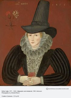 A portrait of Esther Inglis (1571 - 1624), calligrapher and miniaturist, painted by an unknown artist in 1595; the intertwined carnation/pink and honeysuckle may denote her engagement, carnations/pinks symbolising betrothal or marriage, and honeysuckle, feminine fragrancy and clinginess. (National Galleries of Scotland)