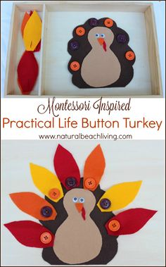 The Cutest Montessori Practical Life Button Turkey Busy Bag, Easy DIY Activity, Perfect for Preschoolers, Great Fall Busy Bag Ideas, Fun Fine Motor Activity