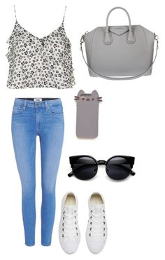 """""""The Casual"""" by meahnicole on Polyvore featuring Topshop, Paige Denim, Converse, Givenchy and Pusheen"""