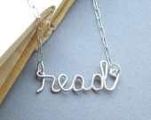 read (sterling silver wire word necklace)