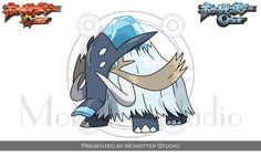 Icepimano by MonstterStudio Pokemon Rpg, Pokemon Fake, Pokemon Pokedex, Pokemon Fan Art, Pokemon Fusion, Pokemon Stuff, Pet Monsters, Cartoon Monsters, Fossil Pokemon