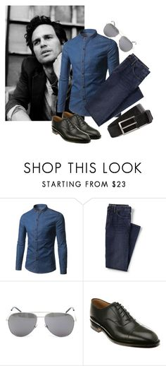 """""""Marçal."""" by annacastrolima ❤ liked on Polyvore featuring Lands' End, Yves Saint Laurent, Johnston & Murphy, Lanvin, men's fashion, menswear and MarkRuffalo"""
