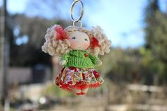 Lady bag charm cute keychains tiny cloth art doll car charms