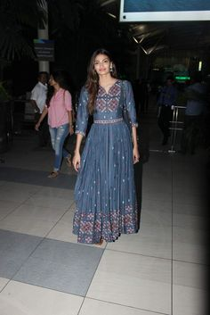 Athiya Shetty wearing a Vrisa by Rahul n Shikha dress and bag by @stellamccartney