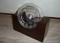 Raak retro design lamp 60 70 wandlamp bruin glas bol