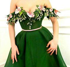 Floral green dresses