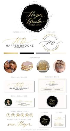 Gold Branding Package Salon Logo Design Premade calligraphy