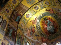 Detail of a ceiling in the Cathedral of the Resurrection of Christ (aka Church of the Savior on Spilled Blood) in St. Petersburg, Russia