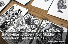 The Art of Education University - 5 Activities to Open Your Middle Schoolers' Creative Brains Informations About The Art of Education University - 5 . Middle School Art Projects, High School Art, Art Classroom, Classroom Resources, Classroom Ideas, Teaching Art, Teaching Tools, 6th Grade Art, Drawing Activities