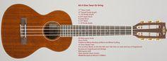 Kala KA-6 String String Gloss Tenor Mahogany