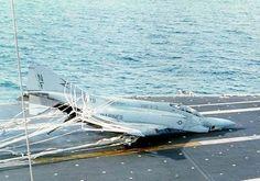 Marines F-4 Phantom crashes on aircraft carrier