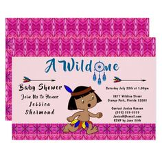A Wild One Baby Shower Tribal Arrows Abstract Pink Card #wildone #babyshower #tribal #card #invitation #tribalcard #showercard #Zazzle
