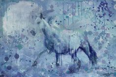 Winter Flurry by Greg Collins - A white horse runs freely through the winter snow.