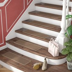 Look at this intersting traditional staircase - what an imaginative design Stair Tread Rugs, Carpet Stair Treads, Stair Railing, Wood And Carpet Stairs, Banisters, Railings, Basement Stairs, House Stairs, Entryway Stairs