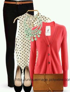 Polka Dots, Mint & Coral - the polka dot top is great and I love the coral cardigan. It looks like a great outfit for work Style Work, Mode Style, Komplette Outfits, Casual Outfits, Fashion Outfits, Fasion, Winter Outfits, Coral Cardigan, Coral Top Outfit