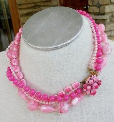 Vtg 1950s Pink Acrylic Bead 5 Strand Enamel Flower Power Clasp Choker Necklace  #NotSigned #StrandString