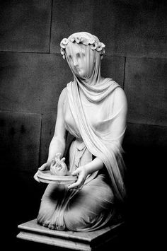 """Veiled Vestal Virgin....mesmerizing.""""The statue is titled """"A veiled Vestal Virgin"""" by Raffaelle Monti (1818-1881). It was commissioned by the sixth Duke of Devonshire on 18 October 1846 and the piece can be dated to 1847."""