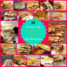 20 Grown Up Grilled Cheese Sandwiches -  a must pin list of Yummy grilled cheese sandwiches!!!