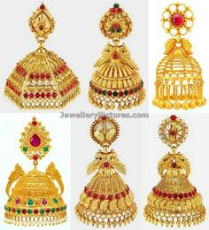 Classy latest Jhumka Designs with vigorous look.Gold traditional jhumka rings studded with rubies,emeralds and pearls attached at the end Jhumka Designs, Gold Earrings Designs, Gold Jewellery Design, Italian Gold Jewelry, Gold Jewelry Simple, Gold Jhumka Earrings, Antique Earrings, Earrings With Price, Schmuck Design